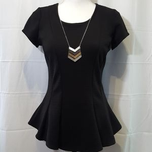 Black dress blouse with built-in Chevron necklace